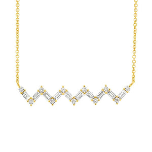 14K GOLD DIAMOND BAGUETTE ZIGZAG NECKLACE (ALL COLORS)
