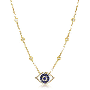 14K GOLD DIAMOND CLAIRE EYE NECKLACE