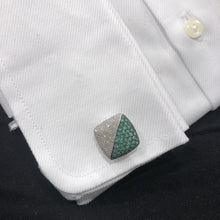 14K WHITE GOLD DIAMOND EMERALD JAMES CUFFLINKS