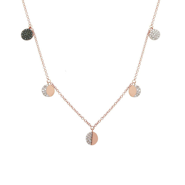 BLACK AND WHITE DIAMOND CIRCLE DISC NECKLACE IN 14K GOLD (ALL COLORS)
