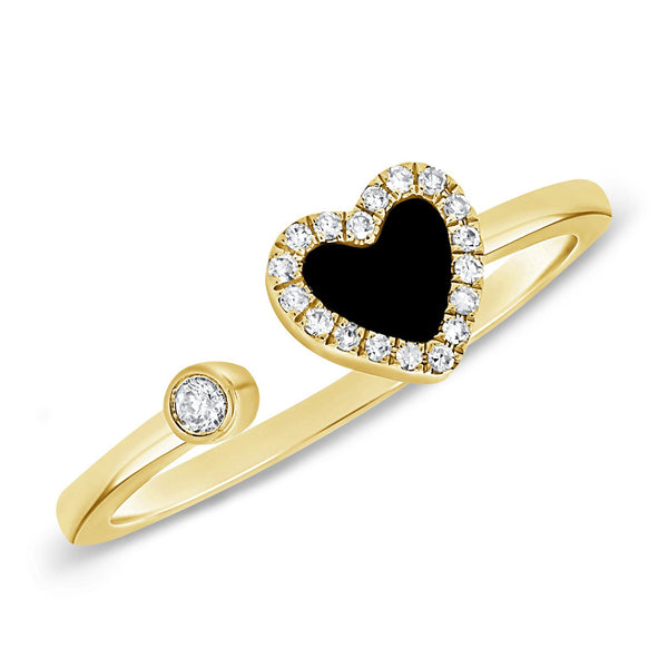 14K GOLD DIAMOND AND ONYX HAILEY OPEN HEART RING