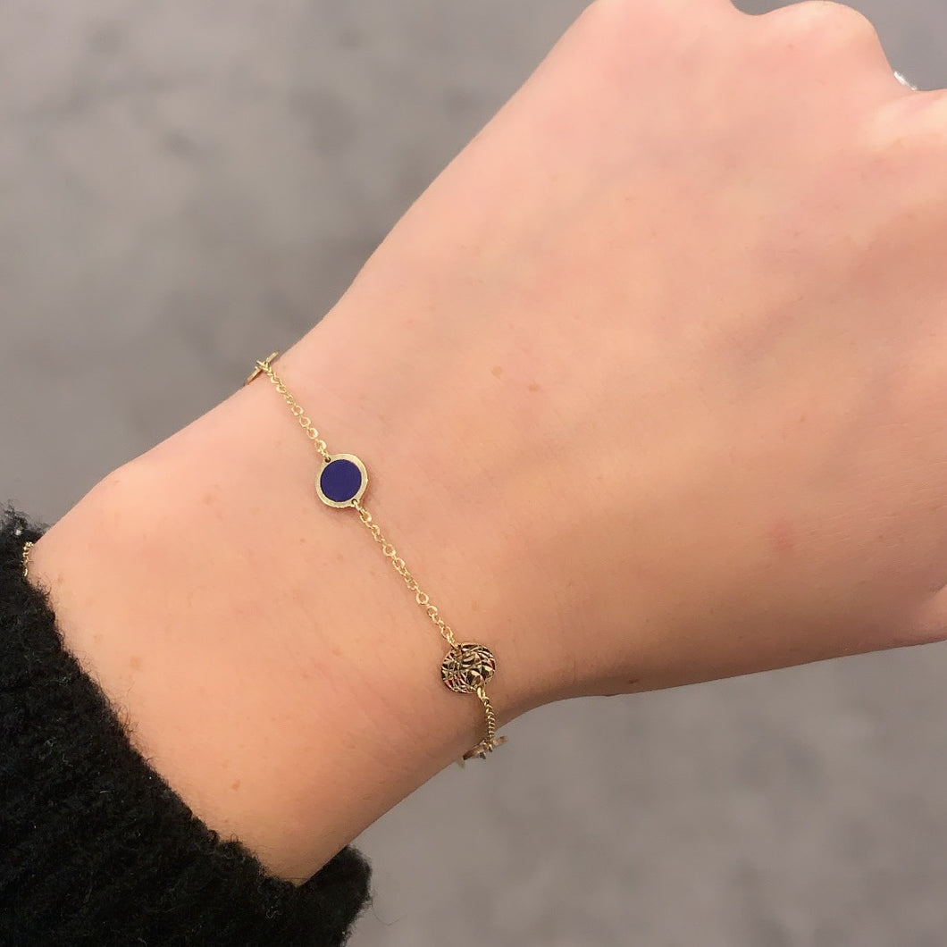 14K GOLD AND LAPIS SMALL MEGAN CIRCLE BRACELET