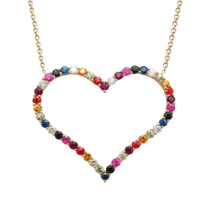 14K YELLOW GOLD DIAMOND LARGE RAINBOW HEART