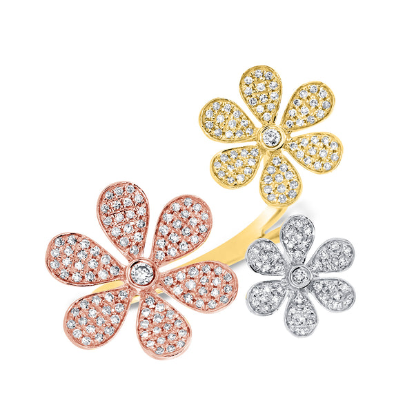 14K GOLD DIAMOND SENA FLOWER RING