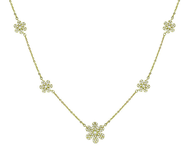14K YELLOW GOLD DIAMOND TRINA NECKLACE