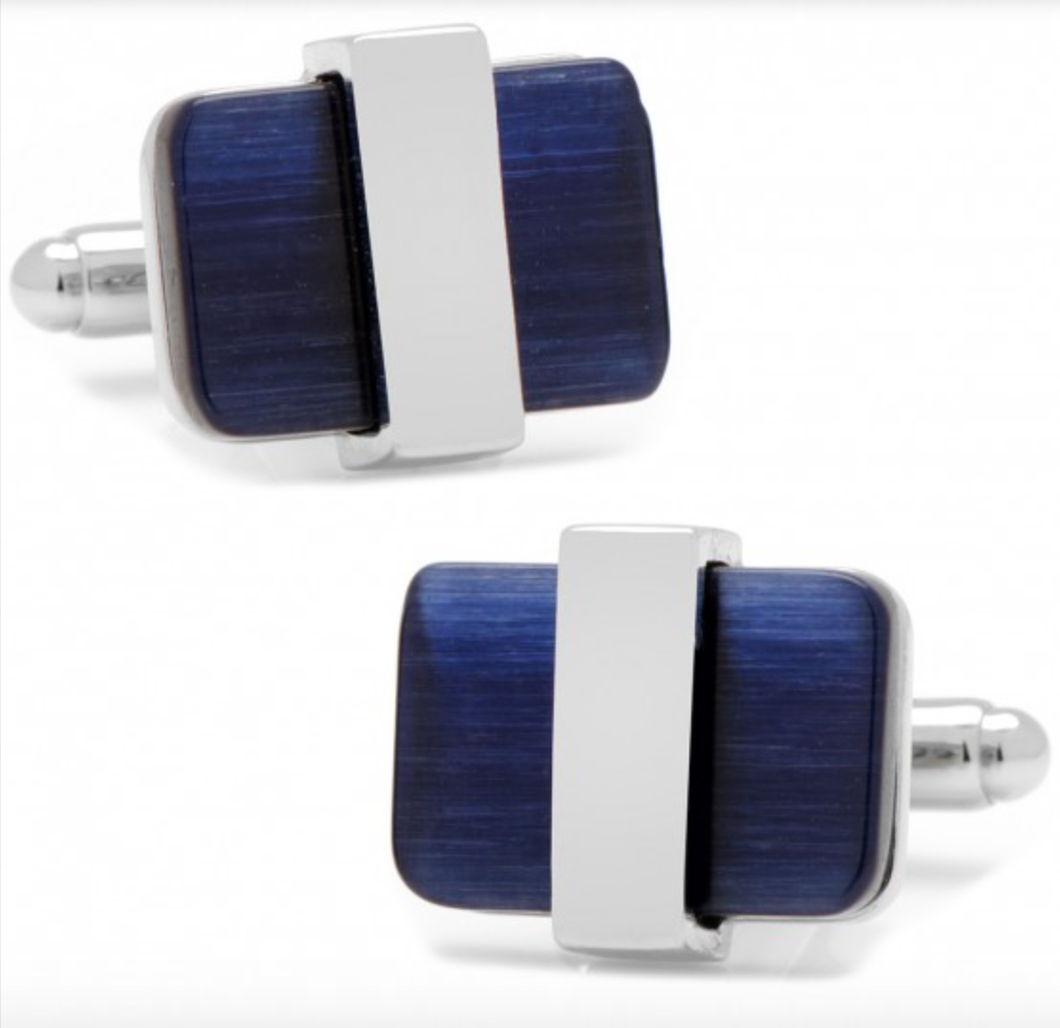 Silver Wrapped Navy Blue Catseye Cufflinks