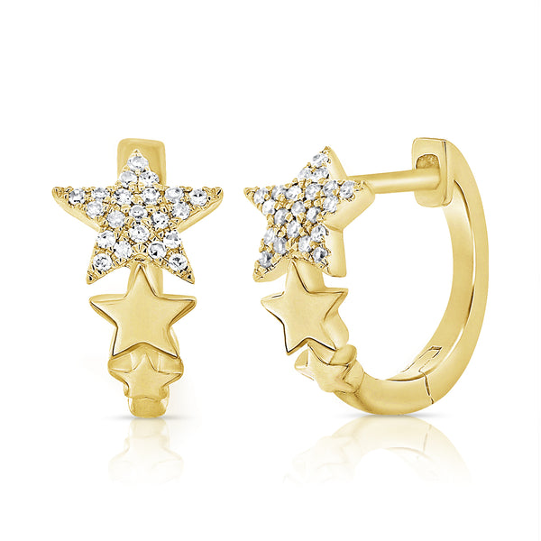 14K GOLD DIAMOND KATIE STAR HUGGIES
