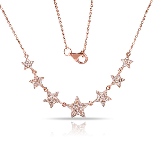 14K GOLD DIAMOND SEVEN STARS NECKLACE