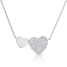 14K GOLD DIAMOND DEMI DOUBLE HEART NECKLACE