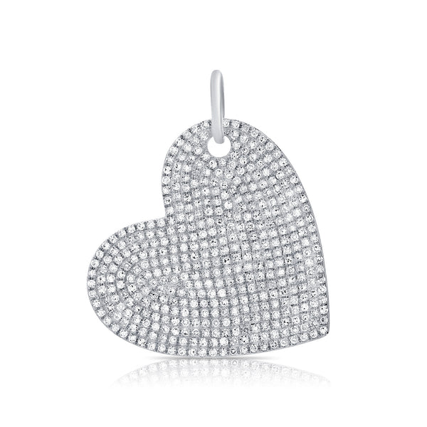 14K WHITE GOLD DIAMOND EXTRA LARGE HEART CHARM