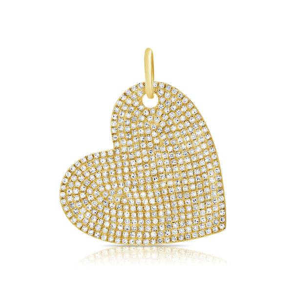 14K YELLOW GOLD DIAMOND LARGE HEART CHARM