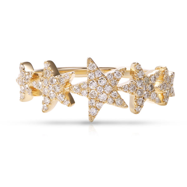 14K GOLD DIAMOND DEMI STAR RING