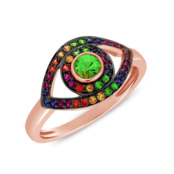 14K GOLD RAINBOW JULIE EYE RING
