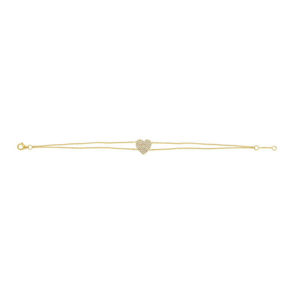 14K GOLD DIAMOND AVERY HEART BRACELET