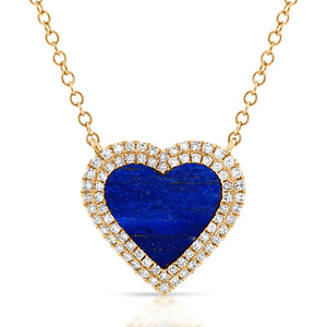 14K GOLD DIAMOND AND LAPIS MIA HEART NECKLACE