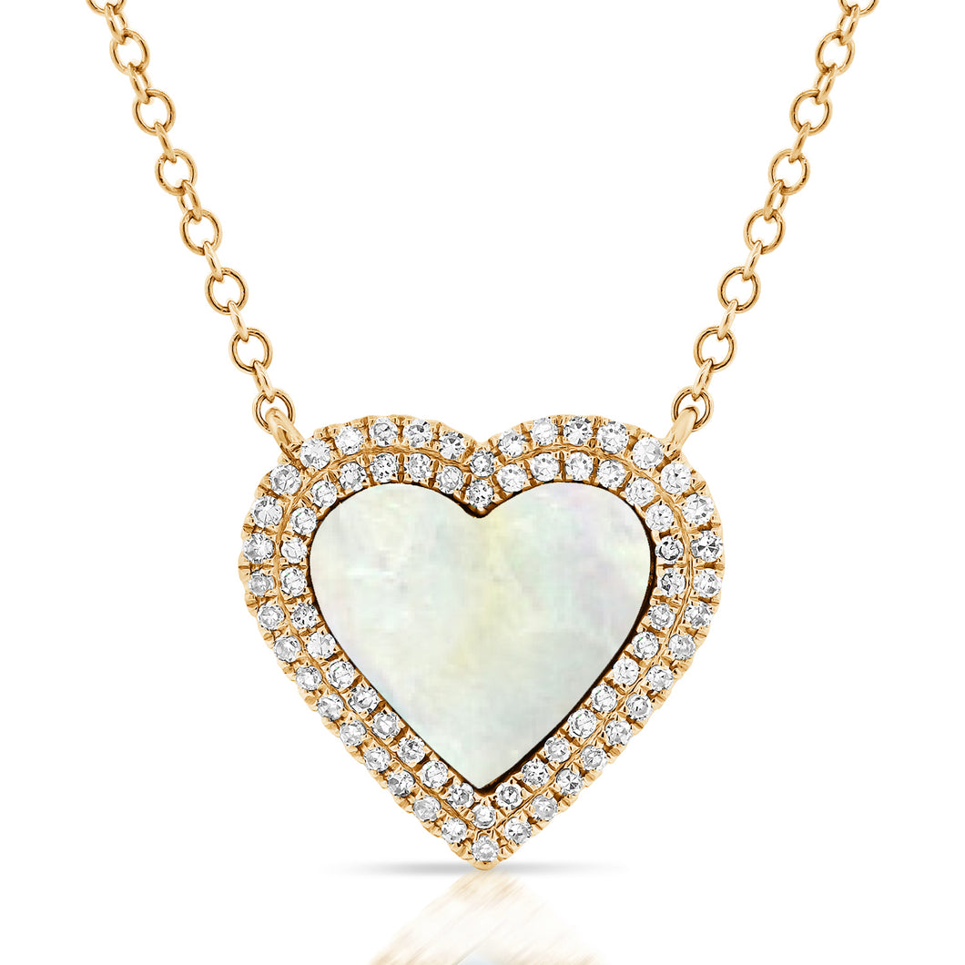 14K GOLD DIAMOND AND MOTHER OF PEARL MIA HEART NECKLACE