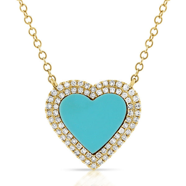 14K GOLD DIAMOND AND TURQUOISE MIA HEART NECKLACE