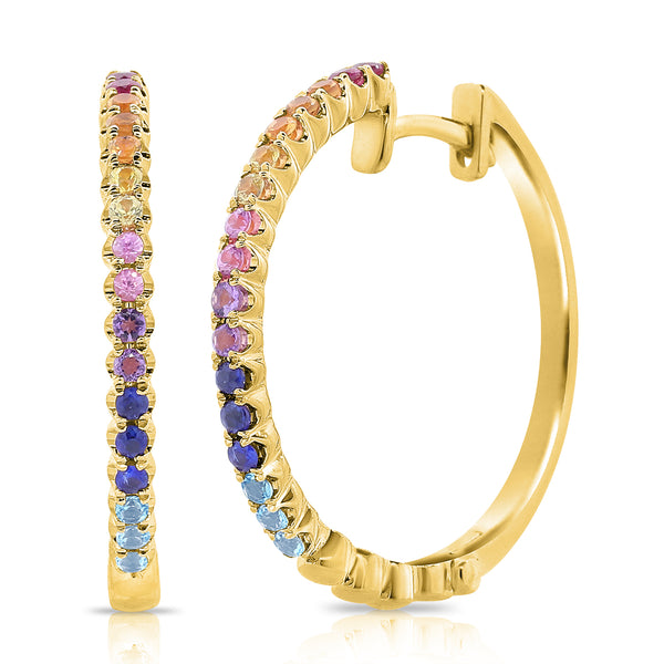 14K GOLD LARGE JULIE RAINBOW HOOPS