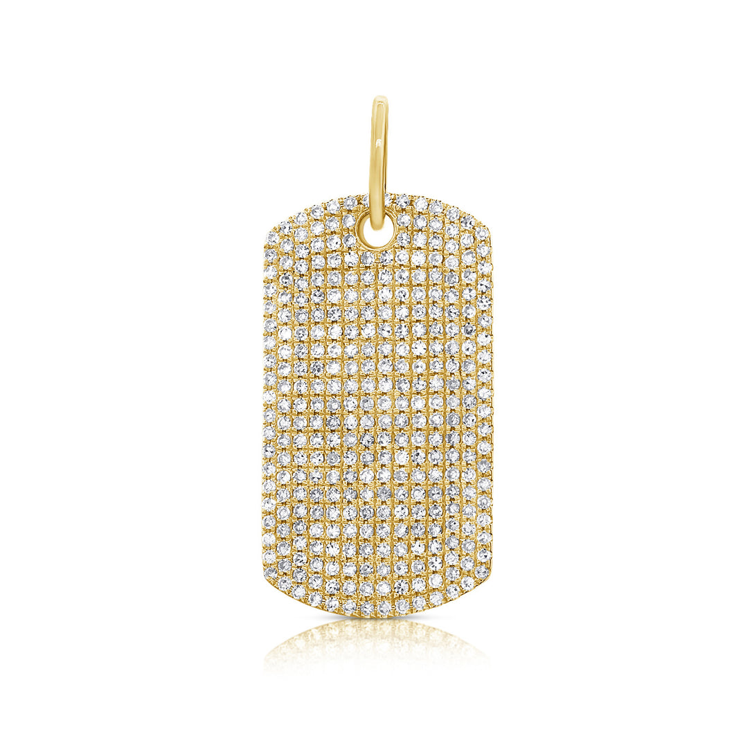 14K YELLOW GOLD DIAMOND LARGE DOG TAG