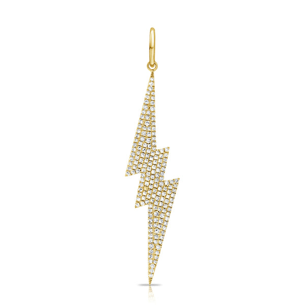14K YELLOW GOLD DIAMOND LARGE LIGHTNING  CHARM
