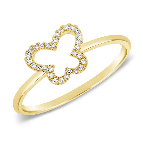 14K GOLD DIAMOND DANIELLE OPEN BUTTERFLY RING