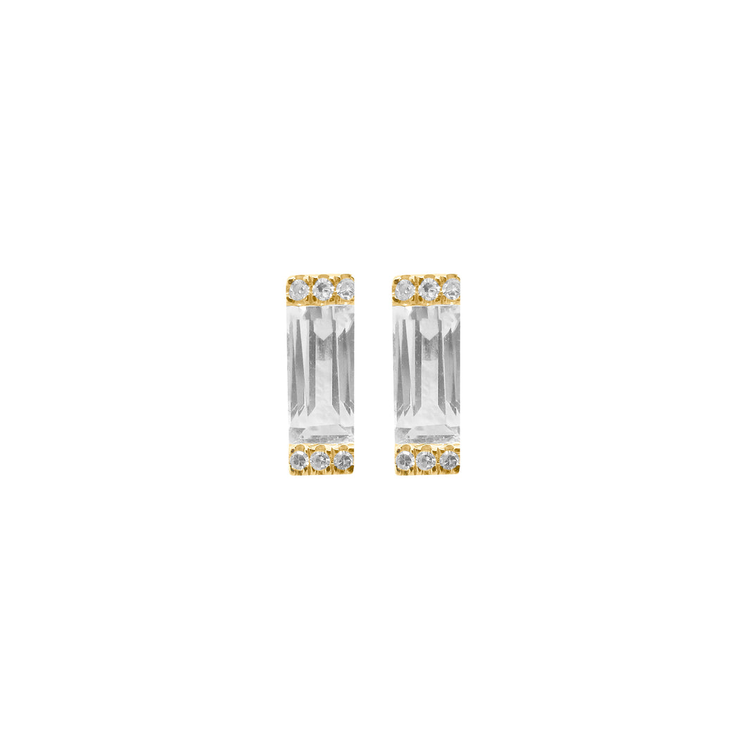 14K GOLD DIAMOND WHITE TOPAZ ELIANA STUDS