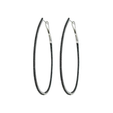 14K GOLD BLACK DIAMOND ALEXA OVAL HOOPS