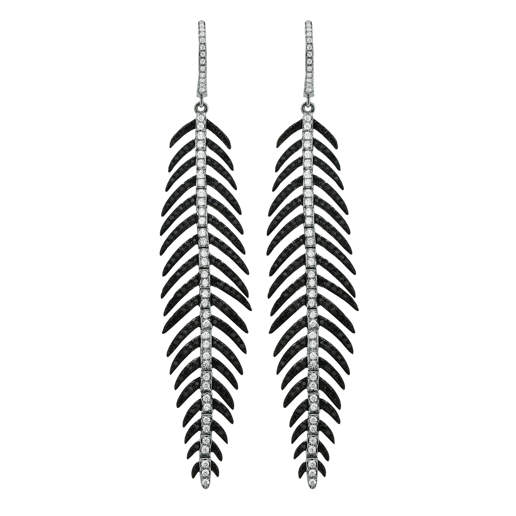 14K GOLD BLACK AND WHITE DIAMOND LENA FEATHER EARRINGS