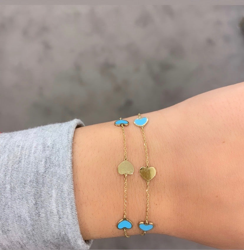 14K GOLD AND TURQUOISE SMALL MEGAN HEART BRACELET