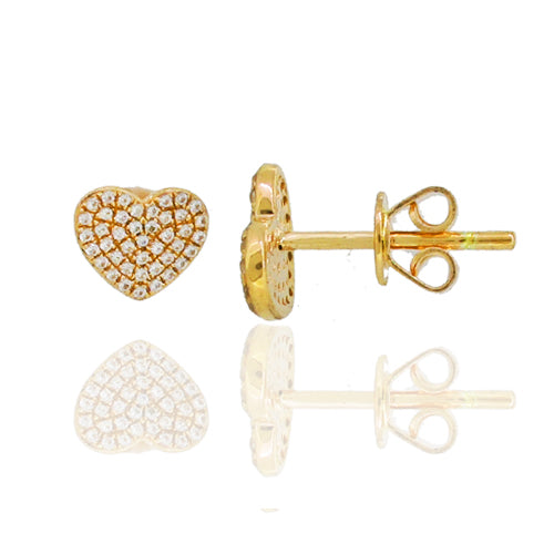 14K GOLD DIAMOND KELLY HEART STUDS