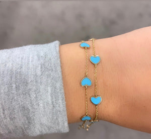 14K GOLD TURQUOISE SMALL MEGAN HEART BRACELET