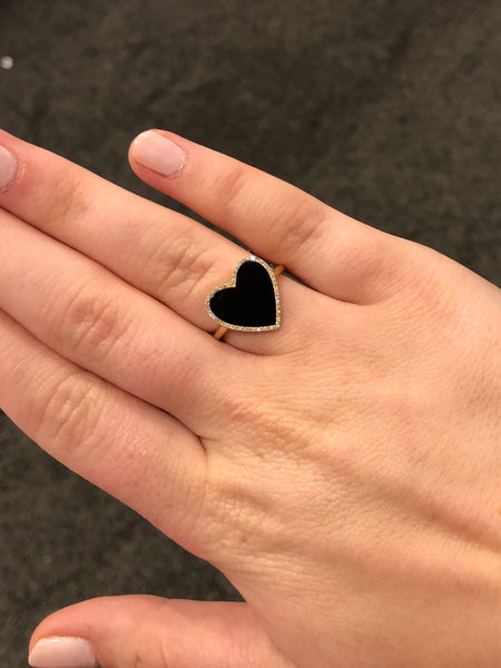 Diamond and Black Agate Heart Ring in 14k Gold