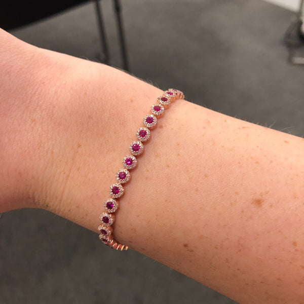 14K ROSE GOLD DIAMOND RUBY RIVA BRACELET