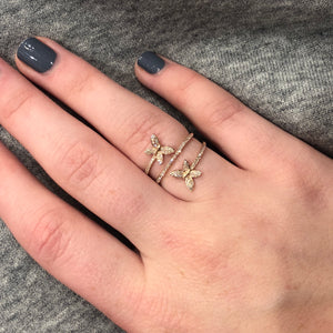 14K ROSE GOLD DIAMOND EMMA BUTTERFLY RING