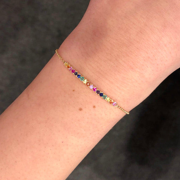 14K YELLOW GOLD RAINBOW BAR SAMARA BRACELET