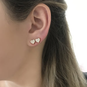14K GOLD DIAMOND CLEO HEART STUDS