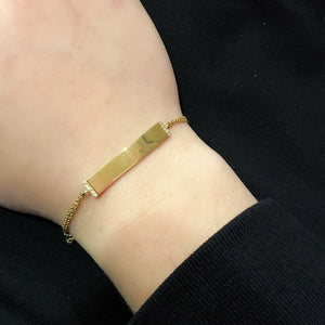 14K YELLOW GOLD DIAMOND JORDANA ENGRAVABLE ID BRACELET