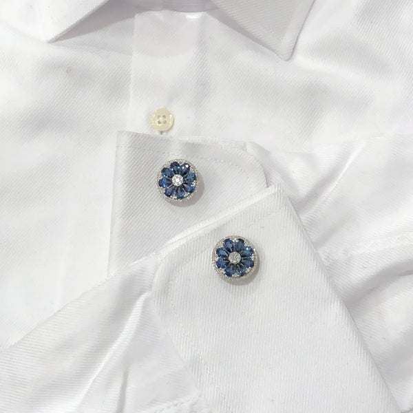 18K GOLD DIAMOND AND BLUE SAPPHIRE DANIEL CUFFLINKS