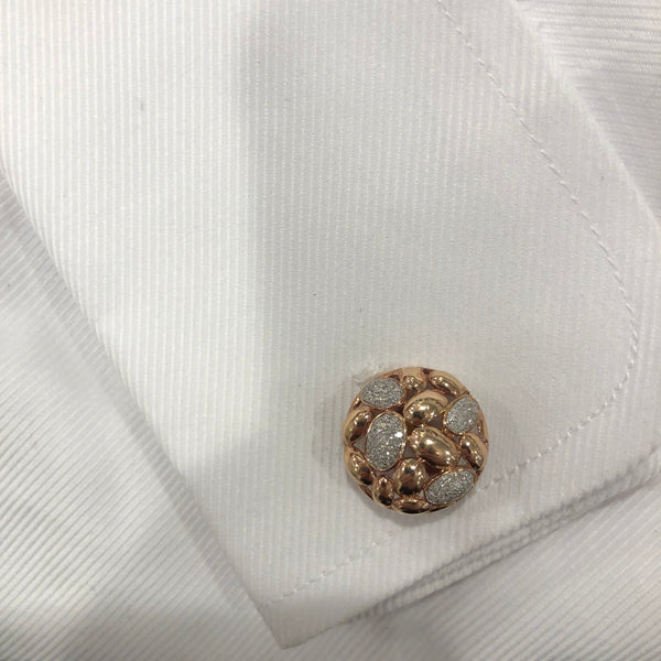 14K GOLD DIAMOND ALEX CUFFLINKS