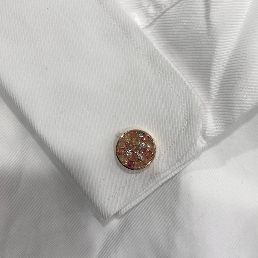 14K GOLD DIAMOND MULTICOLOR JOSEPH CUFFLINKS