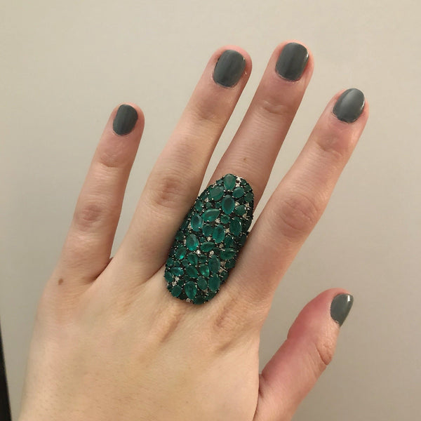 18K WHITE GOLD DIAMOND AND EMERALD DIANNE RING