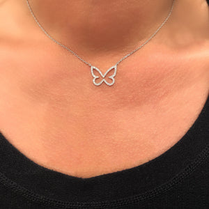 STERLING SILVER DIAMOND OPEN BUTTERFLY NECKLACE