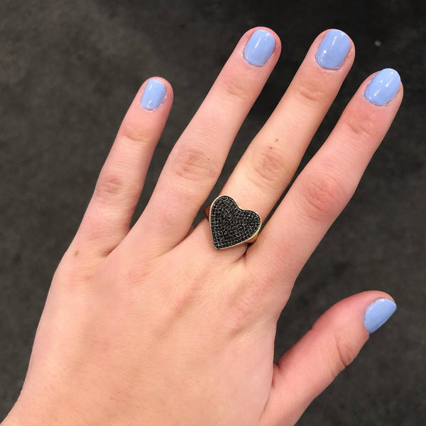 14K GOLD BLACK DIAMOND APRIL HEART RING
