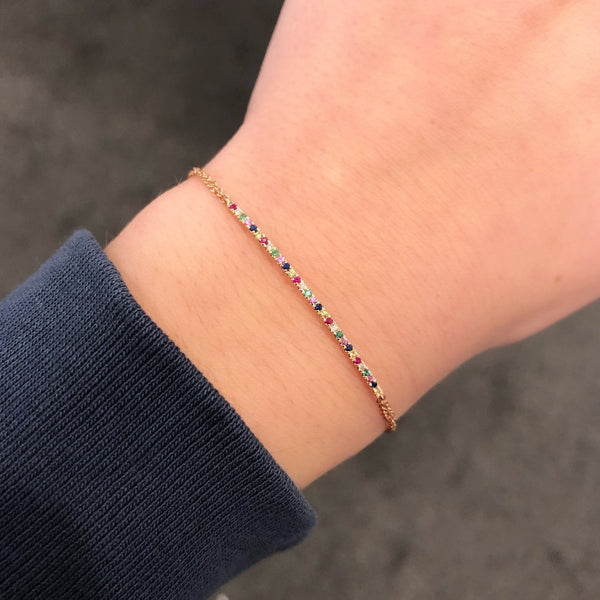14K GOLD DIAMOND RAYNA RAINBOW BRACELET