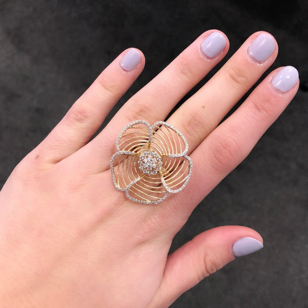 14K GOLD DIAMOND JANNA FLOWER RING