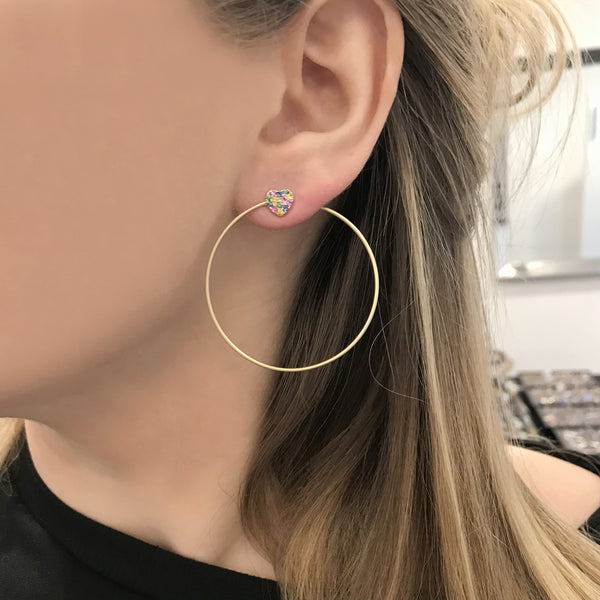 14K GOLD MULTICOLOR HEART LILY HOOPS