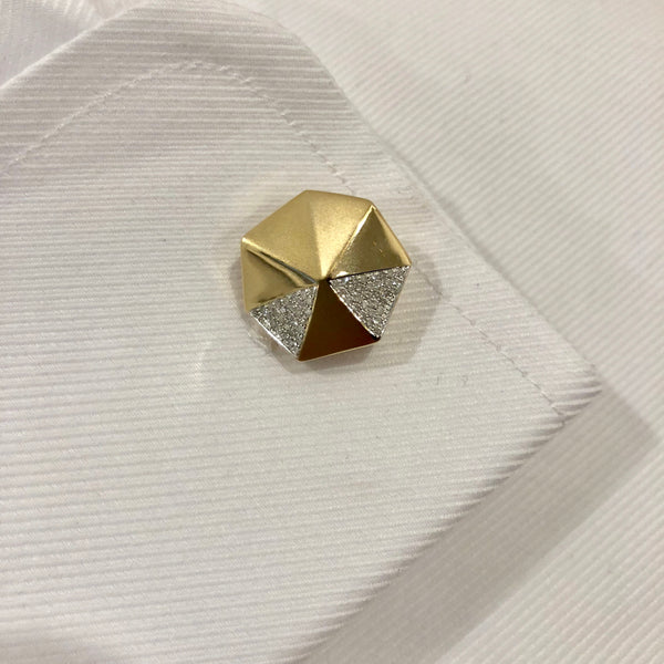 14K YELLOW GOLD DIAMOND JEFF CUFFLINKS