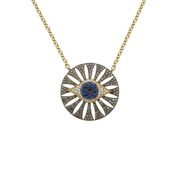 14K GOLD DIAMOND PIPER EYE NECKLACE