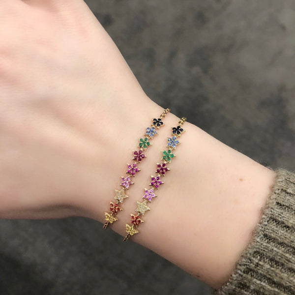 14K GOLD DIAMOND MULTICOLOR KELLY STAR BRACELET