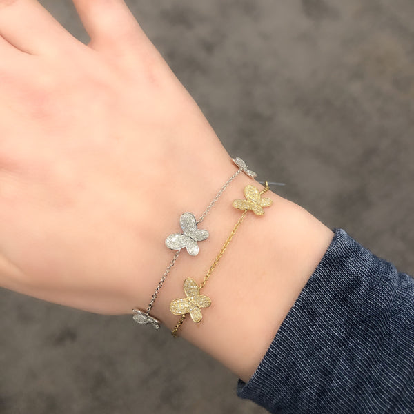 14K GOLD DIAMOND POPPY BUTTERFLY BRACELET